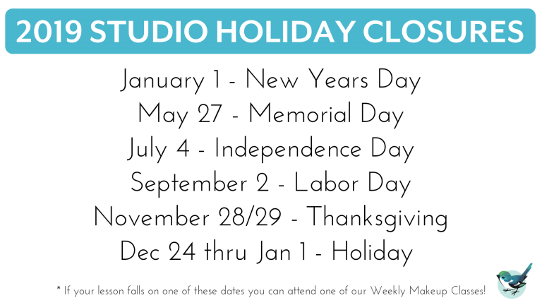 studio closure holidays 2019